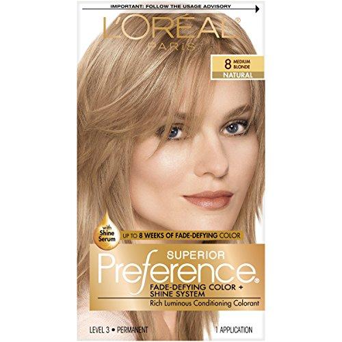 L'Oréal Paris Superior Preference Fade-Defying + Shine Permanent Hair Color, 8 Medium Blonde, 1 kit Hair Dye (Best Caramel Blonde Hair Dye)