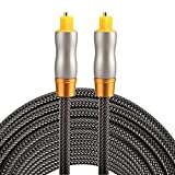 Optical Cables, 5m OD6.0mm Gold Plated Metal Head Woven Line Toslink Male to Male Digital Optical Audio Cable