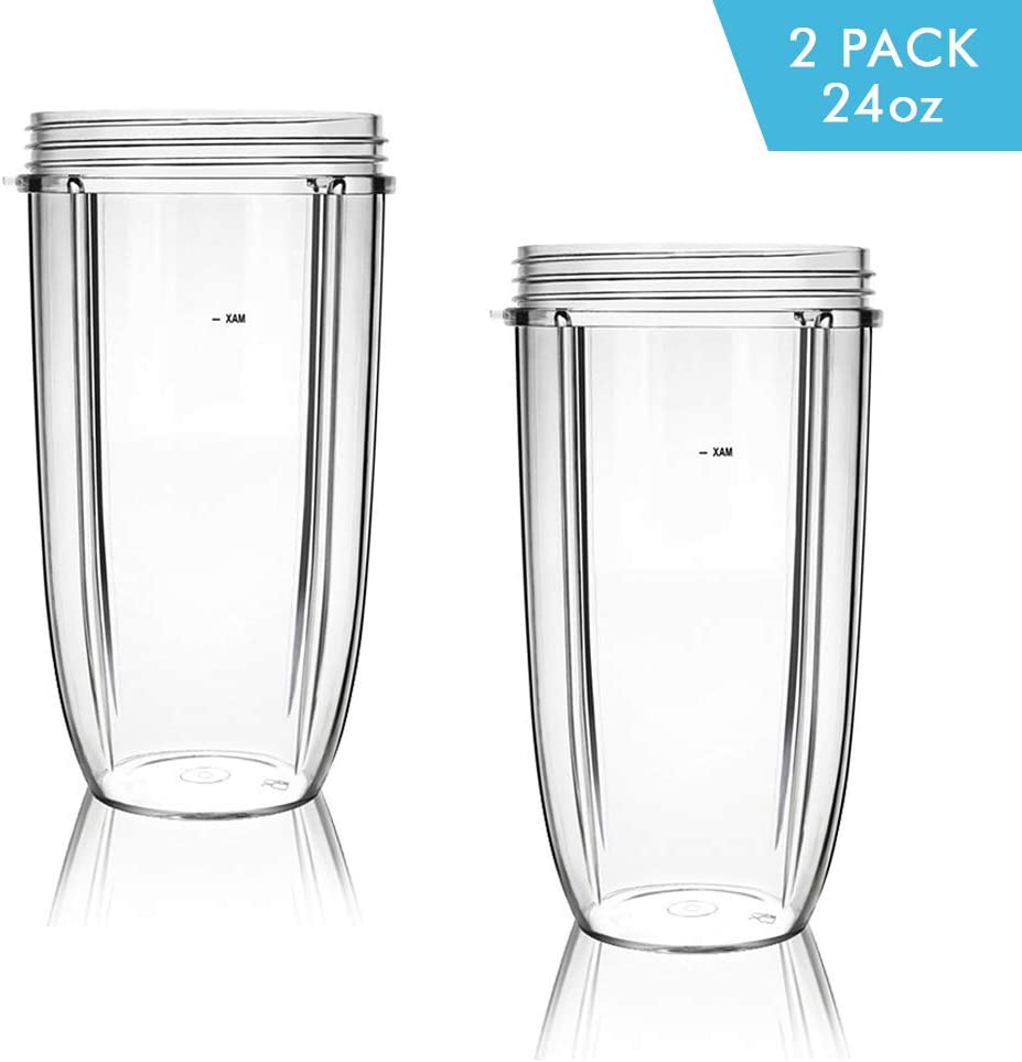 NutriBullet Replacement Cups, 32oz Tall Cups Replacement Parts for Nutribullet 600w & 900w Blender Mixer, Nutribullet Replacement Accessories Parts (Pack of 2, 32oz)