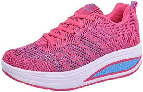 9e56d2ad910 Sllve-hive Women s Wedges Sneakers Breathable Mesh External Heightening  Casual Athletic Shoes