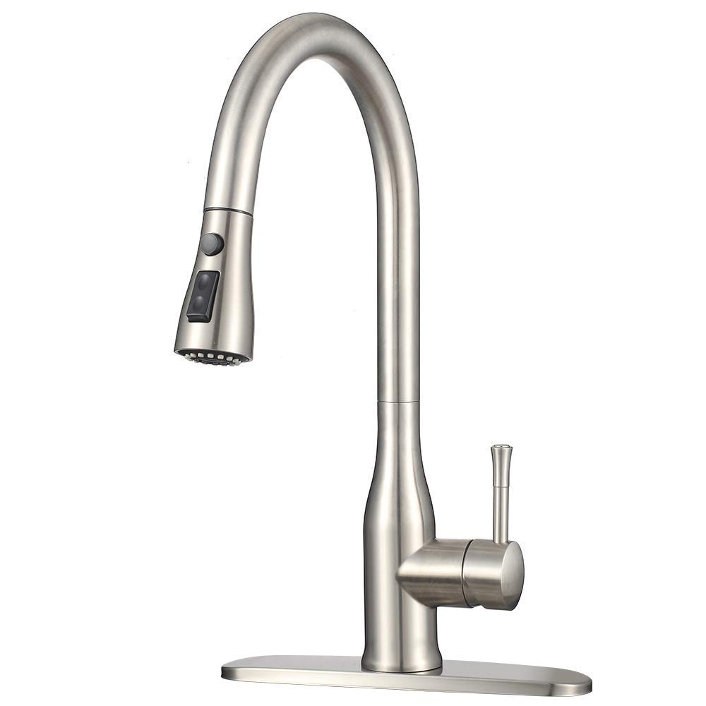 Stainless Faucet MSTJRY Commercial Kitchen Faucet with Pull Down Sprayer 16.5''Dual Function Stream and Spray Head Deck Plate Included