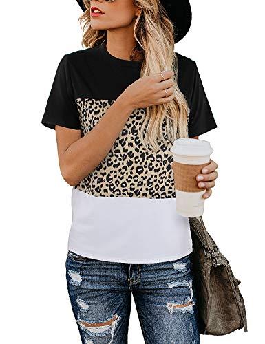 BMJL Women's Casual Cute Shirts Leopard Print Tops Basic Short Sleeve Soft Blouse (Medium, Leopard Block)