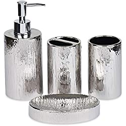 Blue Donuts 4 Piece Bathroom Accessories Set (Silver)