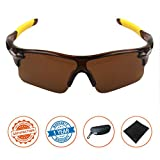 J+S Active PLUS Cycling Outdoor Sports Athlete's Sunglasses, 100% UV protection (Brown Frame / Brown Lens)