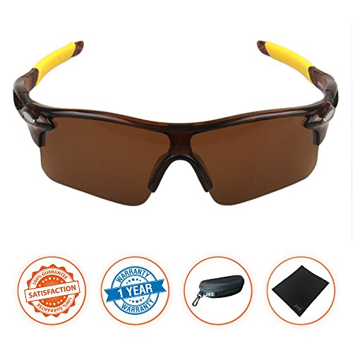 J+S Active PLUS Cycling Outdoor Sports Athlete's Sunglasses, 100% UV protection (Brown Frame / Brown - Brown Lenses Sunglass
