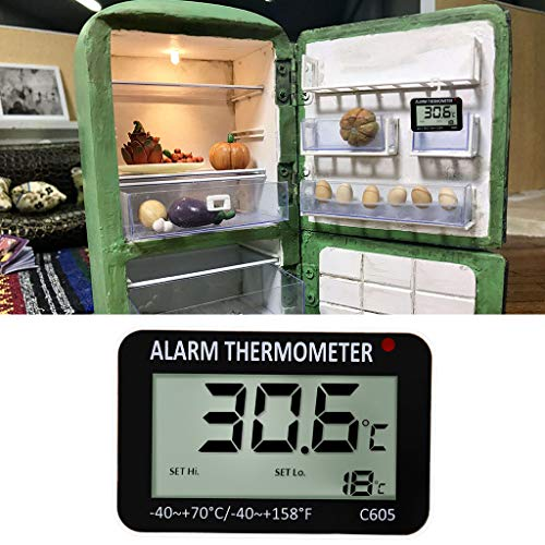 Yintiod - Termómetro de alarma magnético digital para nevera y ...