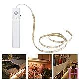 #6: LED Battery Operated Bed Light , Motion Sensor Flexible Led Strip Rope Light Kit Tape Stair Night Step Lighting for Bedroom Cabinet,Warm White 3000K