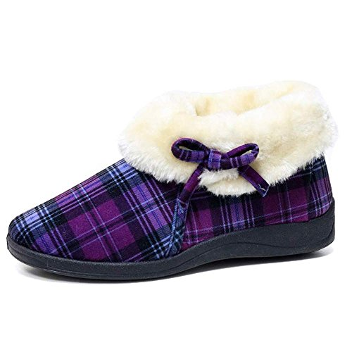 faux Slippers Suede Famous warm Lining Purple with Ladies Dunlop fur Check Moccasin 0qxRpIAZw
