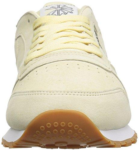 Reebok Heren Classic Lthr Pastels Fashion Sneaker Wahsed Geel / Klassiek Wit / Kolen-gum