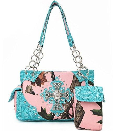 Blancho Bedding Womens [Leaves Elves] Bolsa De Cuero PU Bolsa Elegante Handbag 2 - Turq