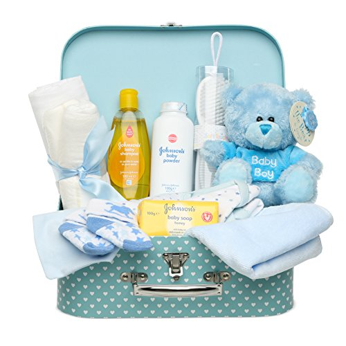 - Baby Box Shop Newborn Baby Gift Set, Full of New Baby Gifts, Baby Clothes and Blue Teddy Bear for a New Baby Boy