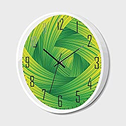 Silent Wall Clock Non Ticking Metal Frame HD Glass Cover,Abstract Home Decor,Fresh Swirl Creativity Striped Artistic Curvy Waves Trendy Illustration Decorative,for Living Room, Bedroom,Office,16inch