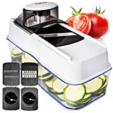 Spiralizer Mandoline Julienne Vegetable Slicer - 5-IN-1 with Food Catch Tray - Spiral Zucchini Noodle Maker & Cheese Grater for Veggie Spaghetti Pasta - Best Spiralizers Mandolin Slicers & Cutters