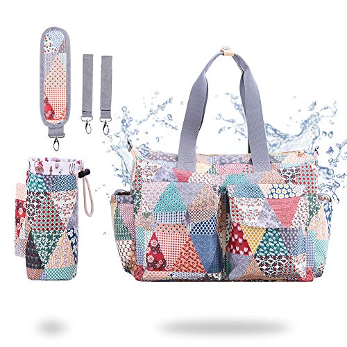 Diaper Tote Bag - Messenger Nappy Changing Bag - RUNKA Waterproof Travel Baby Tote Bag for Mom - Includes Insulated Bottle Holder and Shoulder Strap