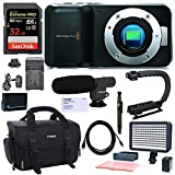 Blackmagic Pocket Cinema Camera, With Polaroid LED Video Light, Shotgun Microphone, Sure GRIP Stabilizer, Camera Case, Replacement Battery, Charger, Sandisk 32GB Memory Card and Accessory Bundle