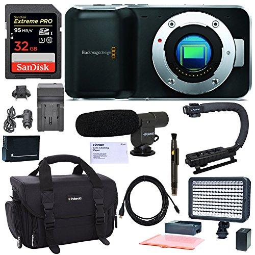 Blackmagic Pocket Cinema Camera, With Polaroid LED Video Light, Shotgun (Red Digital Cinema Camera)