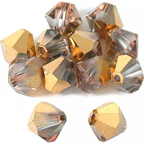 Bicone Bead Rose (12 Rose Gold Bicone Swarovski Crystal Beads 5301 6mm)