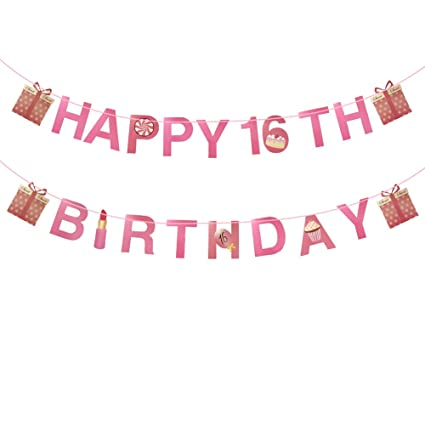 23pcs Sweet 16 Happy Birthday Banner Theme Party Supplier Pink