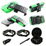 Mstechcorp - Samsung Galaxy Ace Style S765C Armor Series Dual Layer Holster Case with Kickstand and Locking Belt Swivel Clip + (Touch Screen Stylus) + (Hands Free Earphone With Carrying Case) + (Car Charger) + (2 Data Cables) (BLACK GREEN)