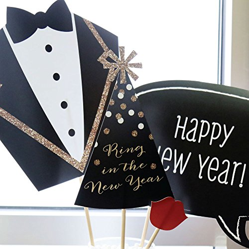New Years Eve Party - Gold - 2020 New Year's Photo Booth Props Kit - 20 Count