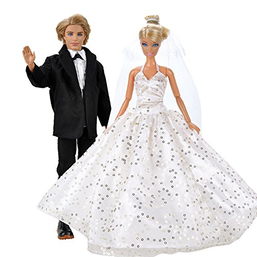 Bride Doll Clothes (E-TING Wedding Pack, Beautiful Gown Bride Dress Clothes with Veil and Groom Formal Outfit Business Suit for Barbie Dolls Boy Dolls)