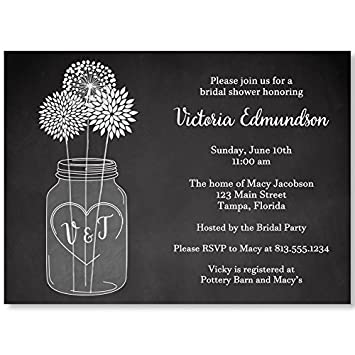 Amazon mason jar bridal shower invitations chalkboard wedding mason jar bridal shower invitations chalkboard wedding shower black white flowers filmwisefo