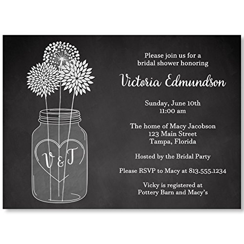 Mason Jar Bridal Shower Invitations Chalkboard Wedding Party Black White Flowers Customized Initials Dandelions Daisies Floral (10 Count)