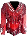 Classyak Women's Western Fringed Top Quality Real Leather Jacket Red X-Large