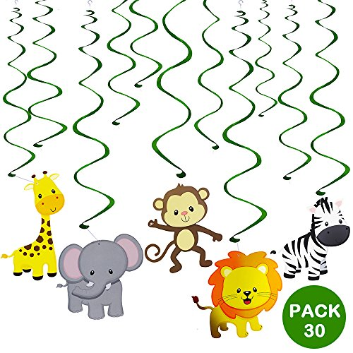 Supla 30 pcs Jungle Animals Hanging Swirl Decorations Green Safari Party Forest Animal Theme Supplies for Baby Shower Kids 1st Birthday Nursery School Classroom Bedroom Bathroom Table Ceiling Decor ()
