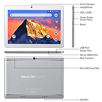 """Dragon Touch K10 Tablet 10.1"""" Android Tablet with 16 GB Quad Core Processor, 1280x800 IPS HD Display, Mini HDMI, GPS, FM"""