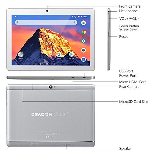 Dragon Touch K10 Tablet 101quot Android Tablet with 16 GB Quad Core Processor 1280x800 IPS HD Display Mini HDMI GPS FM