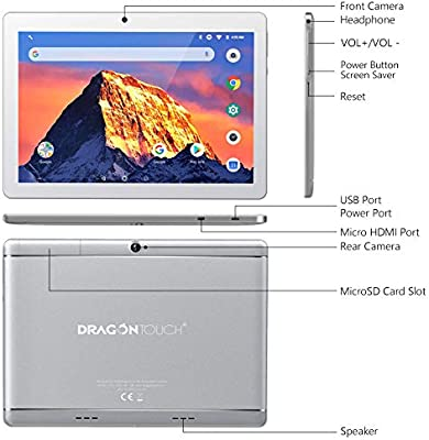 Dragon Touch K10 Tablet 101 inch Android Tablet with 16 GB Quad Core Processor 1280x800 IPS HD