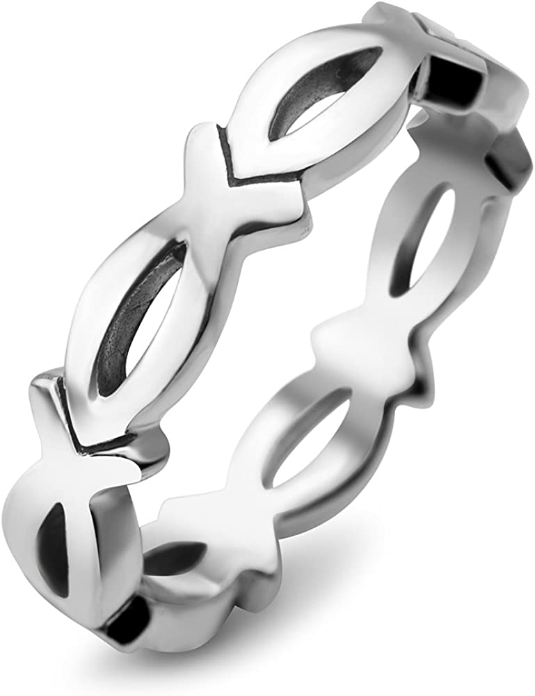 925 Sterling Silver Christian Jesus Christ Fish Ichthus God Son Saviour Band Ring Size 6, 7, 8