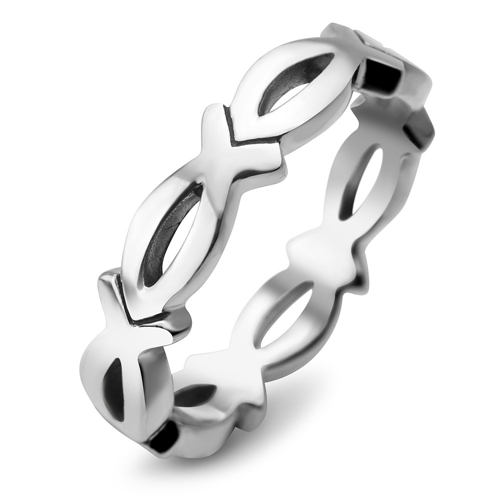 925 Sterling Silver Christian Jesus Christ Fish Ichthus God Son Saviour Band Ring Size 7
