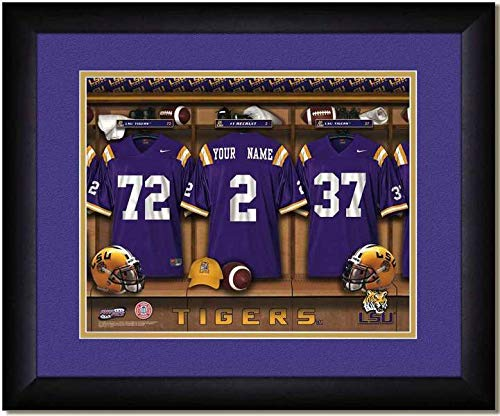 (LSU Tigers University Football Team Locker Room Personalized Jersey Officially Licensed NCAA Sports Photo 11 x 14 Print)