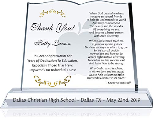(Personalized Crystal Book Teacher Thank You Gift Plaque, Customized with Teacher and School Name, Unique Appreciation Gift idea for Any Educator, Teacher, Coach, Professor (M - 10
