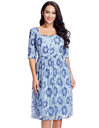 Blossil Women's Plus Size Floral Lace Mother of the Bride Casual A Line Dress