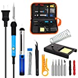 Soldering Iron Kit Electronics, 60W Adjustable Temperature Welding Tool, 5pcs Soldering Tips, Desoldering Pump, Tin Wire Tube, Soldering Iron Stand, Tweezers, Wire Stripper Cutter,2pcs Electronic Wire