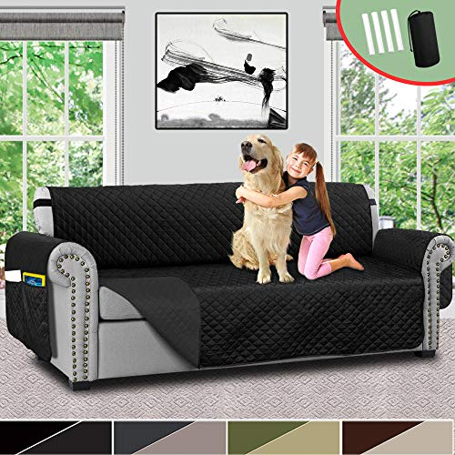 Vailge Sofa Covers for Dogs, Reversible Sofa Cover, Couch Covers for 3 Cushion Couch, Sofa Covers for Living Room, Sofa Slipcover with Strap,Pockets, Couch Covers for Dogs Kids(Sofa:Black/Dark Grey)