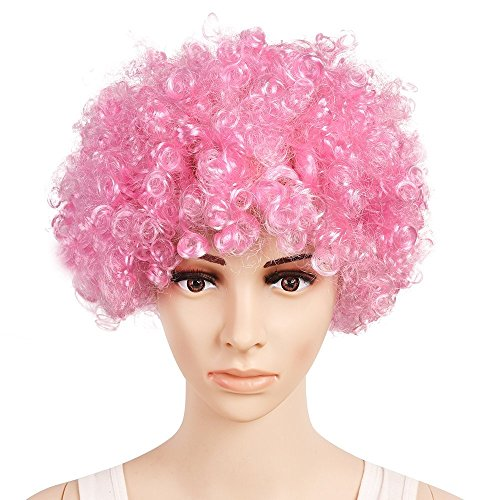 QBSM Unisex Colorful Costumes Fine Afro Wig Party Disco Humor Clown Wigs Women Pink -