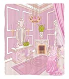 Chaoran 1 Fleece Blanket on Amazon Super Silky Soft All Season Super Plush Teen Girls Decor Collection Princess Dressing in Palace Luxurious Design with Chelier Fireplace Design Print Fabric et Pink