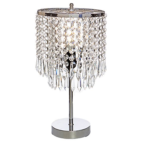 POPILION Elegant Decorative Chrome Living Room Bedside Crystal Table Lamp,Desk Lamp with Crystal Shade for Bedroom Living Room Coffee Table ()