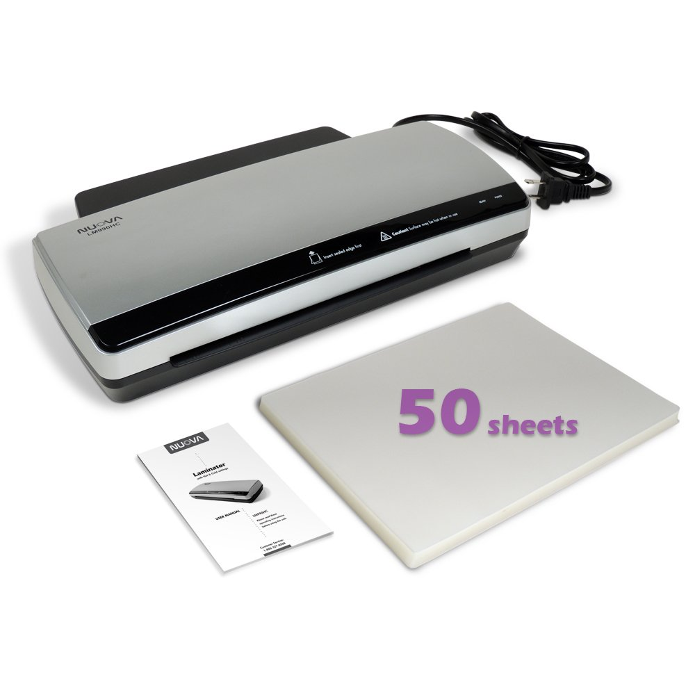Nuova LM990HC Hot & Cold Laminator Bundle with 50-Sheet Letter Size 3 Mil Pouches by NUOVA
