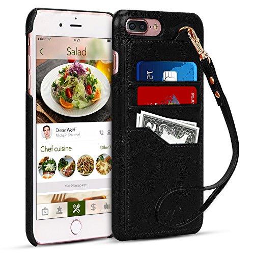 FYY iPhone 7 Plus Case, iPhone 8 Plus Case, [Premium Leather] [Wallet Case] with [Detachable Hand Strap] for Apple iPhone 7 Plus/iPhone 8 Plus 5.5″ Black For Sale