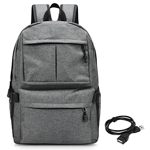 Attache Laptop Gray (Vbiger Oxford Backpack Large Capacity Computer Backpacks Lightweight School Shoulder Bag Casual Daypack with Charging Port (Grey))
