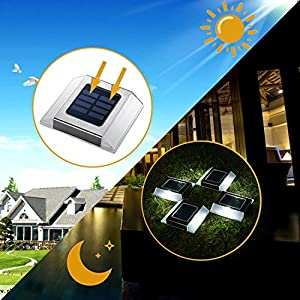 FLTNBL 4 Pack Solar Deck Lights waterproof Path Road Solar Lights Step Lights for outdoor Pathway Stairs Garden Patio Yard sidewalk