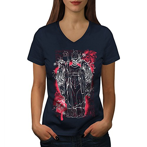(wellcoda Satan Angel Devil Womens V-Neck T-Shirt, Religion Casual Design Tee Navy 2XL)