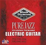 Black Diamond Pure Jazz Electric Guitar Chromium Flat Wound Strings