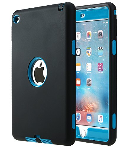 iPad Mini 4 Case - E LV Armor Defender Hybrid protection from drops and impacts with 1 Stylus and 1 Microfiber for iPad Mini 4 - [BLACK/TURQUOISE]