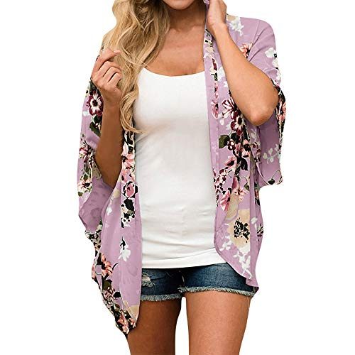 Kimonos for Women Beach,SMALLE◕‿◕ Womens Beach Cover Up Floral Floral Print Chiffon Summer Loose Kimono Cardigan Capes Pink